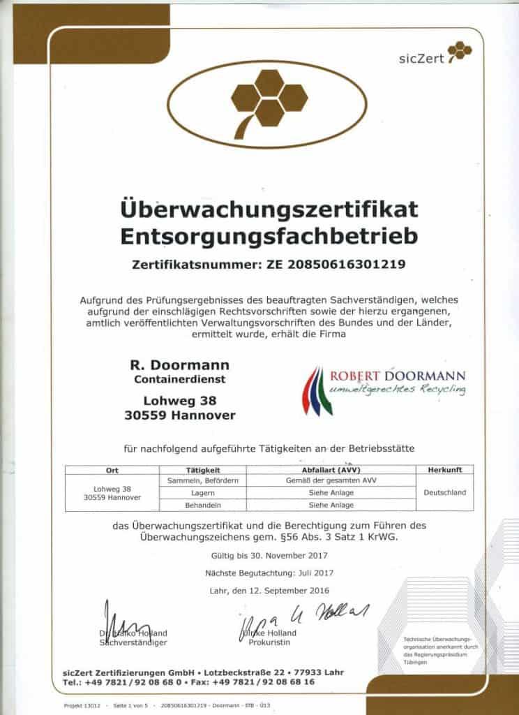 Überwachungszertifikat für Entsorgungsfachbetriebe von Doormann Recycling aus Hannover